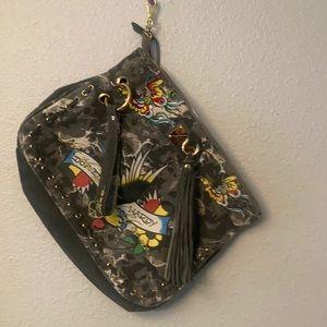 ED HARDY LARGE WRISTLET BAG.